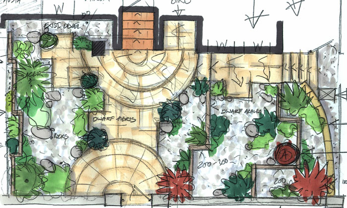 martin watt concept drawing garden design
