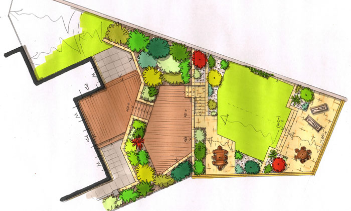 martin watt large sloping garden design plan