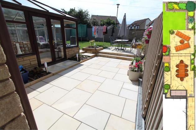 A contemporary garden space given wow with high quality paving